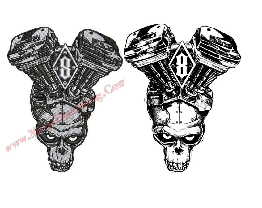 embroidery skull sew out