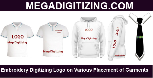 Placement of Embroidery logo on various garments